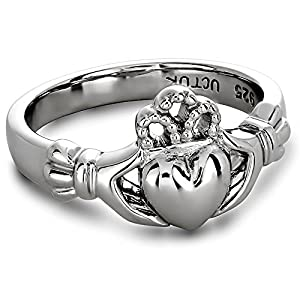 Sterling Silver ULS-6163 Ladies Claddagh Ring