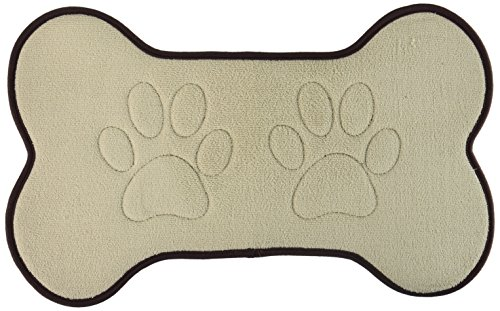 Beatrice Home Fashions BONFMT21TAU Bone Shaped Feeding Mat, Taupe/Chocolate by Beatrice Home Fashions