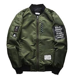 Amoystyle Men's Fashion Reversible Lightweight Bomber Jacket