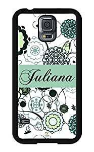 linJUN FENGiZERCASE Samsung Galaxy S5 Case Personalized Blue and Light Green Floral Pattern RUBBER CASE - Fits Samsung Galaxy S5 T-Mobile, Sprint, Verizon and International (Black)