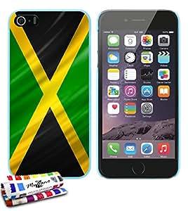Carcasa Rigida Ultra-Slim APPLE IPHONE 5S / IPHONE SE de exclusivo motivo [Jamaica Bandera] [Azul lago] de MUZZANO  + ESTILETE y PAÑO MUZZANO REGALADOS - La Protección Antigolpes ULTIMA, ELEGANTE Y DURADERA para su APPLE IPHONE 5S / IPHONE SE