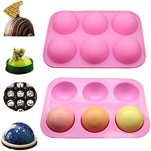 6 Cavity Half Ball Sphere Cake Silicone Mold Muffin Candy Chocolate Baking Mould Kitchen Non Stick Cupcake Pan Purple