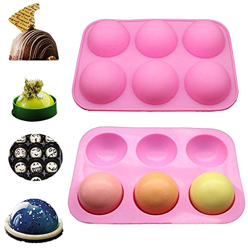 1PC 6 Holes Silicone Pastry Baking Mold 3D Half Ball Sphere Mold Chocolate Cupcake DIY Muffin Bakeware Kitchen Tools BiuBuy (Pink-1pc)