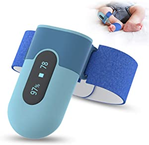 BabyO2 Baby Oxygen Monitor Foot, with Alarm in APP, Track O2 Level & Heart Rate, Wearable Blood Oxygen Saturation Monitor Bluetooth (for 0-3 Years Old)