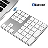 JOYEKY 34-Key Wireless Number Pad Aluminum Wireless Accounting Numeric Keypad Compatible for iMac, MacBook Air, MacBook Pro, MacBook, and Mac Mini (34 Keys White)