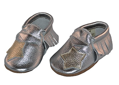 Liv & Leo Baby Girls Moccasins Soft Sole Crib Shoes Slip-on 100% Leather - Star Collection (0-6 Months, Silver/Gold)