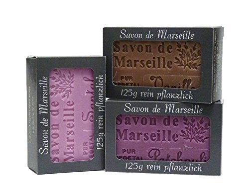 100% Naturseife: Patchouliseife, Sandelholzseife & Vanilleseife, 3-teiliges Seifenset (Savon de Marseille)