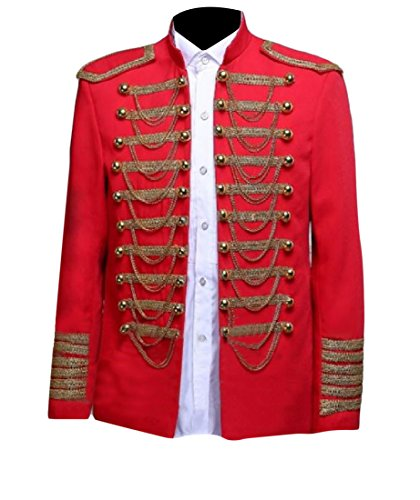 Fseason-Men Costume Stand Up Collar British Style Suit Jacket Blazer Red S -