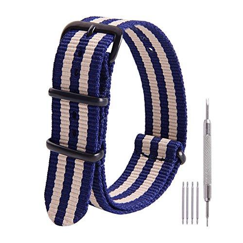 Ritche 22mm NATO Strap Blue Nylon Watch Band Replacement Watch Straps for Men Women ()