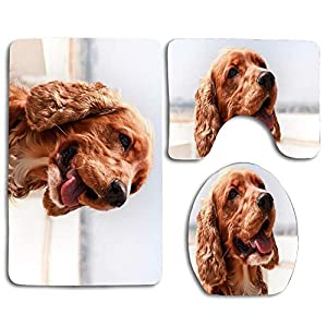 English Cocker Spaniel Dog Muzzle Protruding Tongue Bathroom Rugs Set 3 Piece, Bath Rugs Mats Non-Slip Cushion Pad Including Bath Pad,Pedestal Mat,Toilet Seat Lid Cover 21