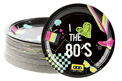 80s Birthday - Disposable Plates - 80-Count Paper Plates,
