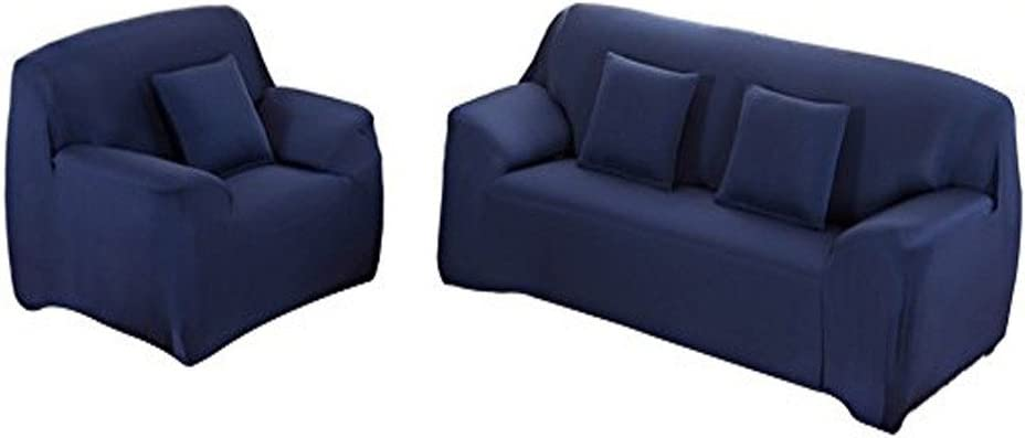 Fenstore Sofa Cover 3 Seater Slipcover Stretch Elastic Couch Covers Form Fit, Slip Resistant, Stylish Furniture Cover/Protector, Fashion and Simple Style (Dark Blue)