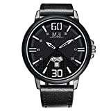 Menton Ezil Mens Unique Analog Quartz Waterproof Watch Day and Date for Business Fashion Sports Wristwatch with Black Genuine Leather Band