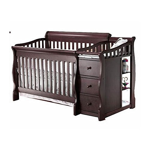 Pemberly Row 4-in-1 Convertible Crib and Changer Set in Espresso -