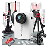 YI 4K Action and Sports Camera with EIS, Live Stream, Voice Control (White) and 32GB Card Travel Photo Deluxe Accessory Bundle