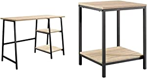 Sauder North Avenue Desk, Charter Oak Finish & North Avenue Side Table, Charter Oak Finish