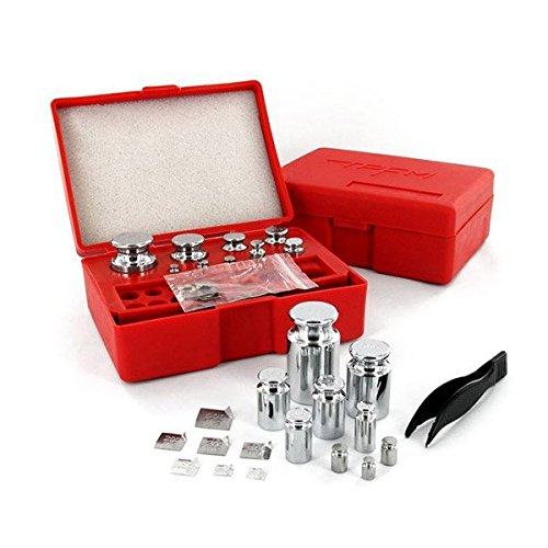 Smart Weigh Calibration Weight Kit, Includes 50g, 2x20g, 10g, 5g, 2x2g, 1g and 8 Different Sizes Milligram Calibration Weights, and a Set of Tweezers