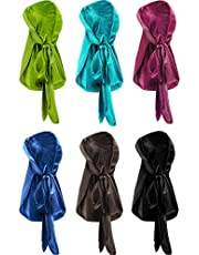 Tatuo 6 Pieces Stretchable Luxury Velvet Durag Cap Straps Headwraps with Long Tail and Wide Straps