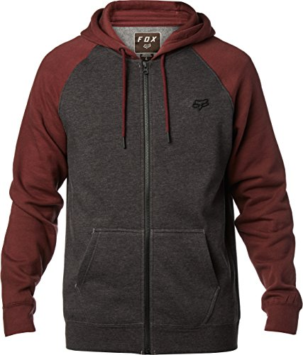 Fox Men's Standard Fit Legacy Logo Zip Hooded Sweatshirt, Charcoal Heather, Small - Edge Mens Hooded Zip Sweatshirt