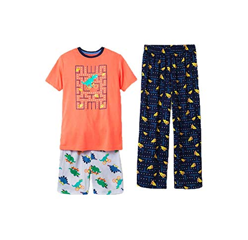 - Cat & Jack Boys 3-PC Sleep Pajama Set Dino Pizza Tetris Print Orange L 12-14