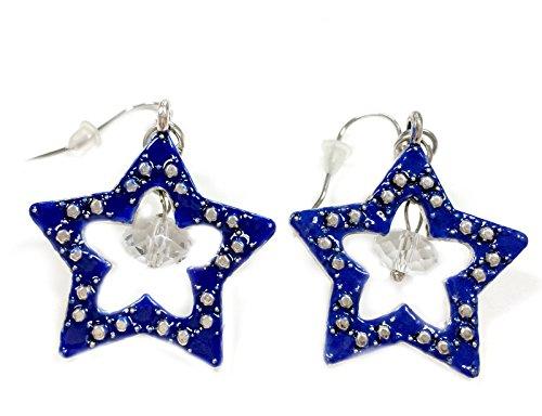 d Metallic Star Earrings, Blue ()
