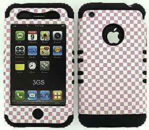 BUMPER CASE FOR IPHONE 3G 3GS SOFT BLACK SKIN HARD PINK WHITE CHECKERS COVER