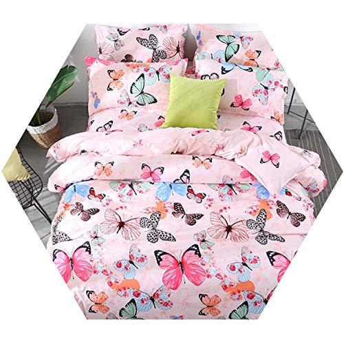 Bedding Butter Butterfly Set Kit Pink Duvet Cover Bed Sheet Pillowcases Four Seasons 1 Full 150x200cm ()