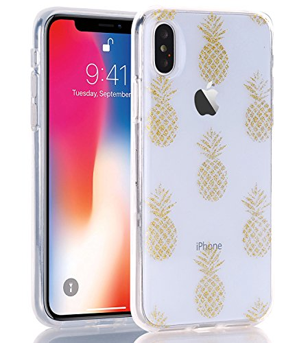 WALAGO Clear Glitter Case for iPhone X Xs, Clear Case with Sparkle Glitter Gold Pineapples Design Slim Flexible TPU Soft Silicone Bumper Cover for iPhone X XS [Gold Pineapples]