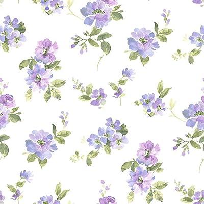 Chesapeake DLR54593 Captiva Purple Watercolor Floral Wallpaper