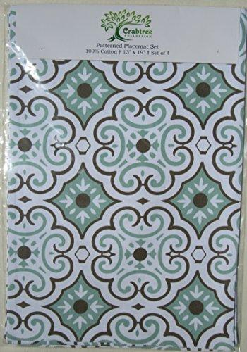 Seafoam Tile Cloth Dining Placemats - Crabtree Collection - Blue/Seafoam Tile (Set of 4) - Sea Foam Tile