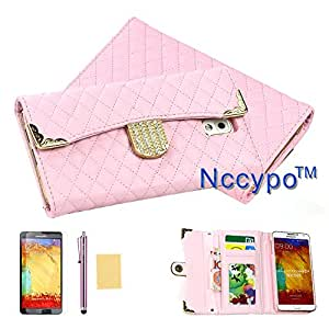 Galaxy Note 3 Case Nccypo Luxury Fashion Lady Type Folio Leather Protective Samsung N9000 Phone Case Cover For Samsung Galaxy Note 3 N9000[Bling Crystal Gold Edge Grid Skin Wallet-Pink] with Stylus, Screen Protector and Cleaning Cloth