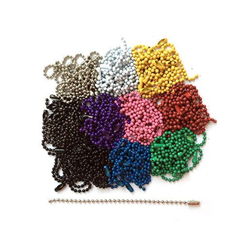 100-Pack - Rainbow Mix Of Colors - 4.5 Inch Ball Chains With Connector #3, 2.4 MM Ball - Made In USA - For Key Chains, Tags, Craft Projects, Etc. ()