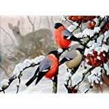 5D Full Diamond Painting Kit, DIY Rhinestone Embroidery Full Drill Cross Stitch Arts Craft for Home Wall Decor - Bird and Deer (12 x 16inch)
