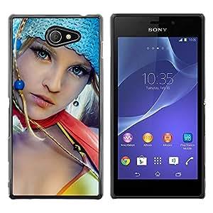 EJOY---Cubierta de la caja de protección la piel dura para el / Sony Xperia M2 / --Azul Eyed Girl