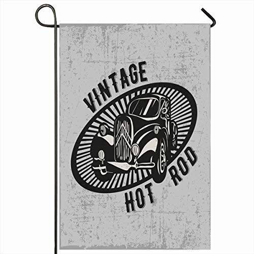 Ahawoso Outdoor Garden Flag 12x18 Inches Roadster Classic Red Vintage Hot Rod Olav Middle Car Muscle American Antique Badge Black Crest Emblem Engine Fire Seasonal Double Sides House Yard - Engine Fire Roadster