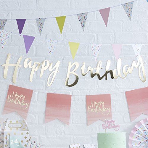 Ginger Ray PM-910 Pick and Mix Designer Happy Birthday Bunting Banner Decoration, Gold, 1.5,