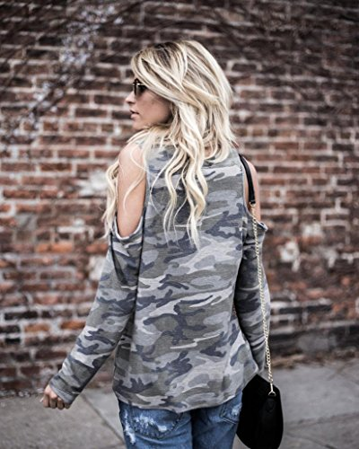 A T Camicetta Lunghe Camouflage Spalle Camicetta Camuffare Maniche shirt Donne Shobdw Tops 1Ew7gRHx