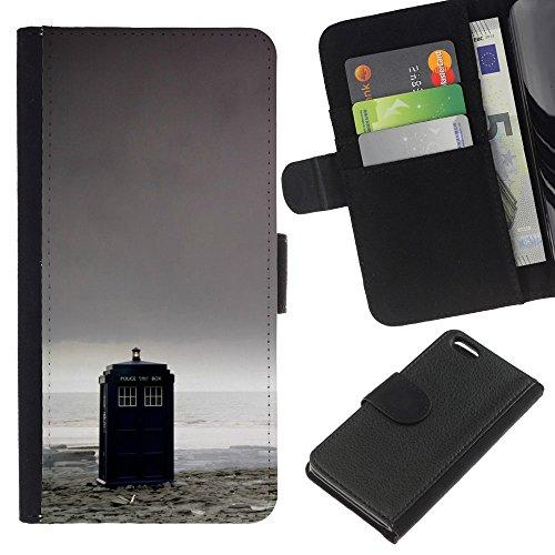 Funny Phone Case // Cuir Portefeuille Housse de protection Étui Leather Wallet Protective Case pour Apple Iphone 5C /Police Box - Docteur/