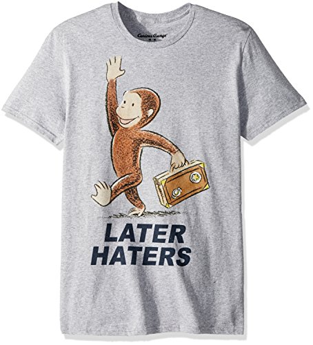 Curious George Men's Later Haters Short Sleeve Graphic T-Shirt, Heather Gray, Medium