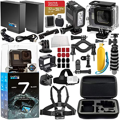 GoPro HERO7 Black Deluxe Bundle Includes: SanDisk Extreme 32GB microSDXC Memory Card + Replacement Battery + Underwater Housing & LED Light + Carrying Case and More from GoPro