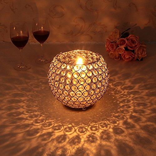 VINCIGANT Gold Crystal Votive Candle Sleeve Holder Centerpieces for Valentines Day Wedding Decoration Candle (Carnation Wedding Centerpieces)