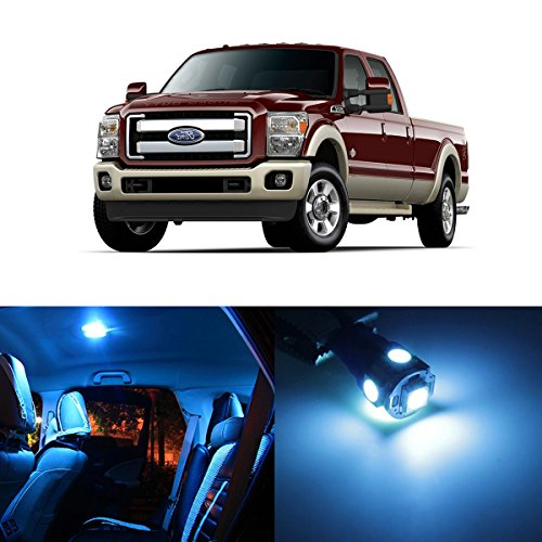 Partsam 11x 2005-2016 Ford F-250 F-350 F-450 F-550 Ice Blue LED Package Interior + License