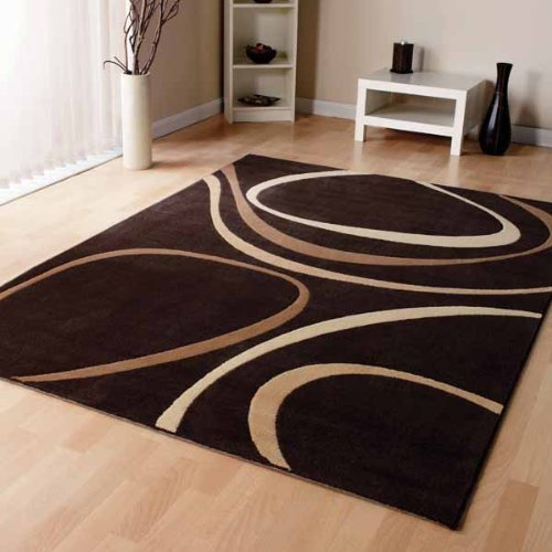 Modern Brown Cream Beige Modern Designer Carpet Home Rug 3 Sizes Available,  160cm X 230cm