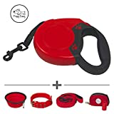Floppy Dawg Retractable Dog Leash for Large Dogs | Comes with Matching Dog Collar, 6 Foot Lead Leash and More | Features a 1 Button Break and Lock Safety System | The Ultimate Dog Walking Set