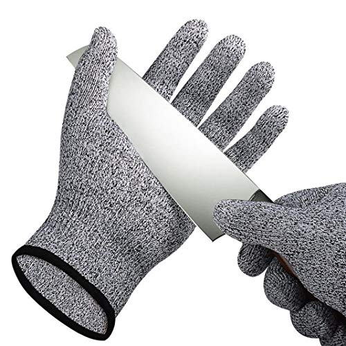 (Coohole Handyman Work Gloves Cut Resistant Tough Stretchable Gloves Food Grade Level 5 Protection Working Cutting Excellent Grip (Black, XL))