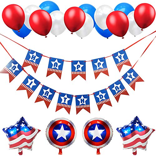 USA Flag Happy Birthday Banner-Red Blue White Latex Balloon with Star Shield Foil Balloons-for Super Man Captain America Birthday Party -