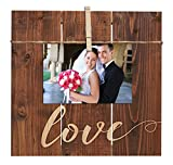 Love Script Design 11 x 10 Inch Solid Pine Wood Clothesline Clipboard Photo and Momento Display