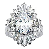 Platinum-plated Oval and Baguette Cut Cubic Zirconia Starburst Ring Size 8