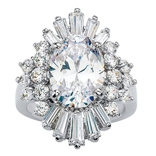 Palm Beach Jewelry Platinum-Plated Oval and Baguette Cut Cubic Zirconia Starburst Ring Size 7