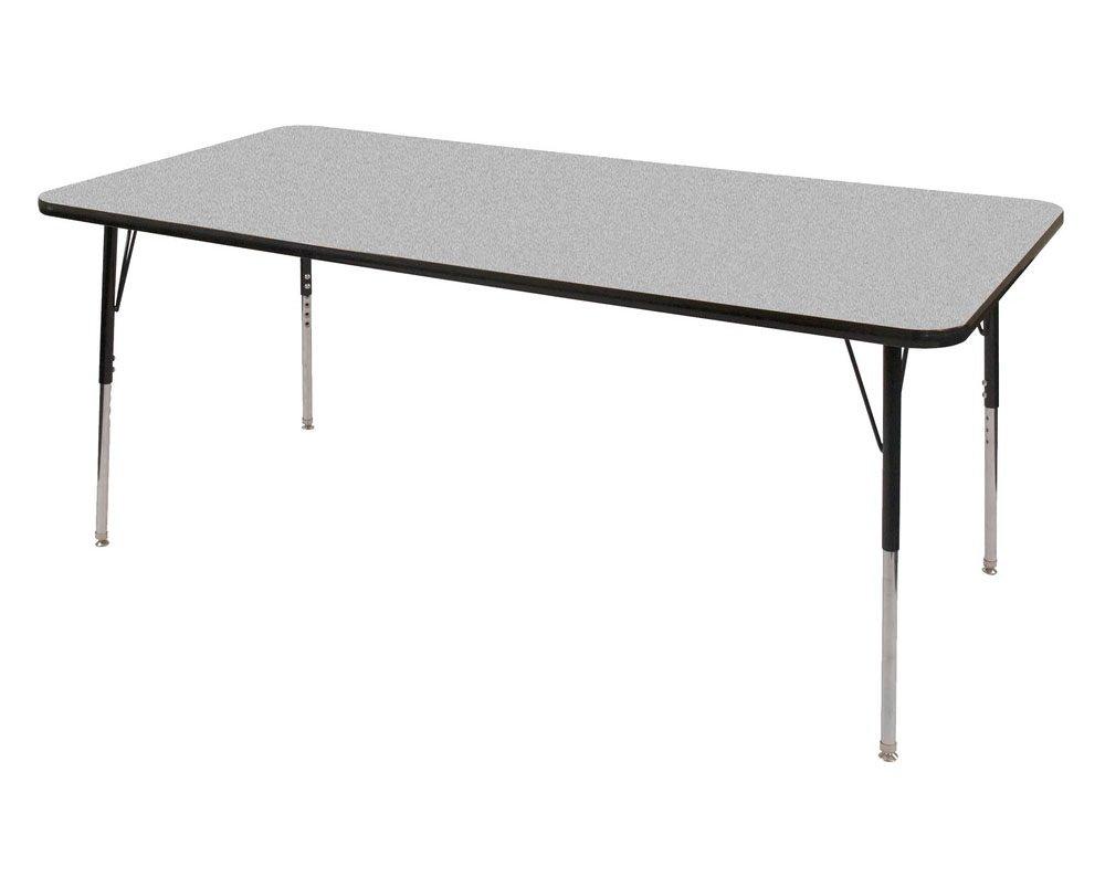 ECR4Kids T-Mold 36'' x 72'' Rectangular Activity School Table, Toddler Legs w/ Swivel Glides, Adjustable Height 15-23 inch (Grey/Black)